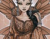 Reina Indian Fairy Queen Art Brown Bronze Fae 4X6 PRINT