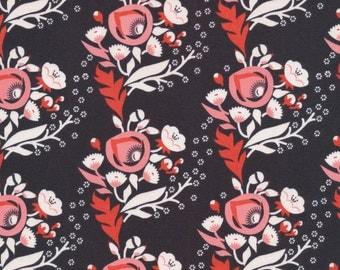 Cloud9 Vignette Poppy Pink Organic Cotton Fabric Black
