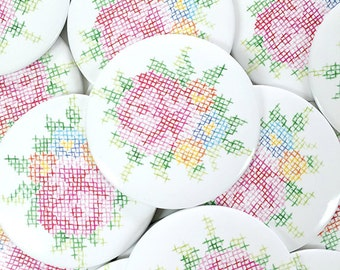 Cross Stitch Flowers Magnet