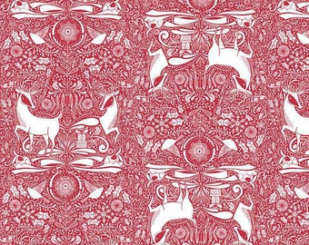 I Love Christmas-The Gathering Red-  Blend Fabrics-Cotton Fabric-Quilt-Sew-Craft-Holiday Fabric-Fabric by the yard-Apparel-Poinsettia-Stag.