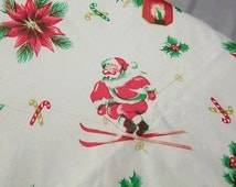 Vintage Christmas Tablecloth Skiing Santa Claus Circle Flannel Back Atomic