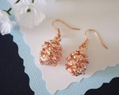 Pine Cone Earrings Rose Gold, Redwood Pinecone, Small Size Earrings, 24kt Rose Gold Earrings, LESM101