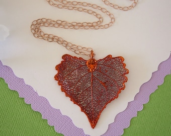 Copper Cottonwood Leaf Necklace, Real Copper Leaf, Real Cottonwood Leaf Necklace, Heart Shape Leaf, Rose Gold Filled, LC110