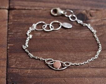 Evil Eye Bracelet - Sterling Silver Chain Bracelet - Free Spirit - Mixed Metal Bracelet - Minimalist Boho Bracelet - Silver Copper Bracelet