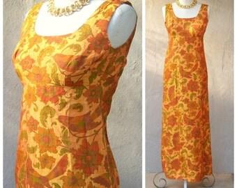 60s 70s maxi dress / magpies + sunflower / orange green brocade / floral birds / empire waist cocktail dress xs xxs