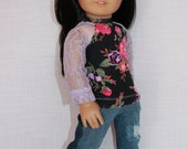 18 inch doll clothes, floral print shirt with lace sleeves, two tone ripped denim skinny jeans, upbeat petites