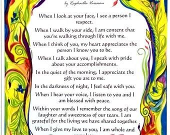 LOVE LETTER for LOVERS Original Boyfriend Girlfriend Spouse Poetry by Raphaella Vaisseau Inspirational Love Poem Valentine Gift Heartful Art
