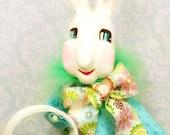Easter Bunny tree topper Easter bunny centerpiece clay rabbit ooak art doll spring decor Easter basket vintage retro inspired ooak art doll