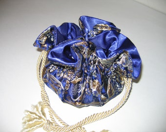 Jewelry Bag Jewelry Pouch Brocade Royal Blue Gold