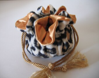 Jewelry Bag Jewelry Pouch Cheetah Print Black Gold Cream