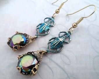 Blue scarab earrings, Czech glass Art Deco earrings, black ab beetle insect earrings, drop earrings, antique brass filigree jewelry, gift
