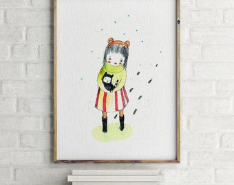 Cold Kitty - Girl Art - Holli - Nursery Wall Art - Nursery Decor - Childrens Art - Kids Wall Art - Nursery Art
