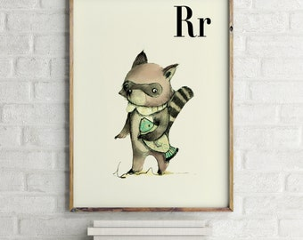 Raccoon print, nursery animal print, woodland nursery, alphabet letters, abc letters, alphabet print, animals prints for nursery
