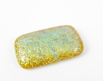 Dichroic Fused Glass Cabochon - Golden Yellow - 1648 - 35mm x 20mm