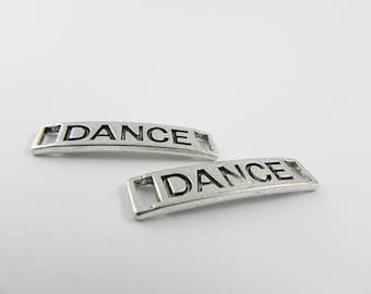 12 Silver Dance Link Connector Slide - 27mm x 6mm - Word