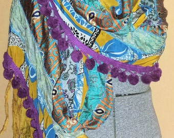 Gypsy Fringe Sari Scarf Shawl Blue Gold Purple