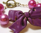 Purple Bow Bracelet - Metal bow brass stamping with super chunky pink pearls and gold filled chain - Lolita Bracelet