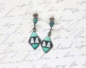 Vintage Blue Turquoise Earrings . Geometric Sterling Silver Earrings . Southwestern Native American Jewelry . Navajo Bohemian Hippie