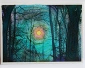 Winter sunrise, aceo, original, Aqua art, little gifts, Gifts under 15, tree art, winter aceo, nature photography, #EtsyGifts #bare trees