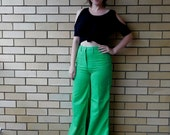 Vintage High Waist Flared Pants Trousers 70s 80s Flares Bell Bottoms Green Disco Polyester Rayon Retro Size Small