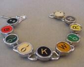 Typewriter key jewelry Bracelet  Spells BOOKWORM  Rare RED B Typewriter key Bracelet