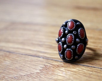 Silver Ring • Navajo Ring • Petit Point Ring • Cluster Ring • Coral Ring • Native American Ring • Native American Jewelry • Navajo Silver