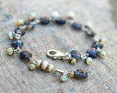 Ethiopian Opal Gemstone and Blue Iolite Coin Shaped Gemstone, Wire Wrapped Handmade Jewelry, October Birthstone Bracelet