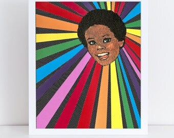Rainbow Girl // Nursery Art // Collage Art Print // Bright Home Decor // Brunette