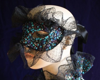 Bonfire Night - Sequined Lace Harlequin Mask with Silk Lace Detail - ready to ship