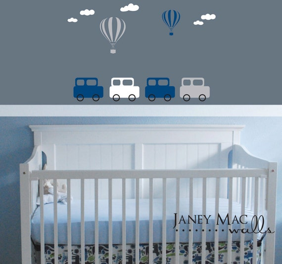 Childrens Vintage Retro Car Wall Decal with Hot Air Balloons and Clouds - Boy Bedroom Nursery Vinyl Wall Sticker Decor - CB136