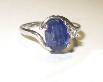 SALE!  Blue Kyanite Ring - Genuine, Natural Gemstone in Sterling with White Sapphire Accent - size 7