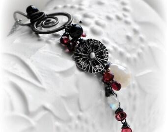 Garnet Statement Tassel Necklace ~ The IMPASSIONATA Tassel Necklace ~ red garnet, black spinel, oxidised silver vortex, End Of Year SALE
