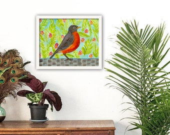 Bird Art, Robin Watercolor, Original Artwork, Gift For Her, Framed Wall Art, Rustic Wall Decor, Housewarming Gift