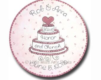 11 inch Personalized Wedding Plate - Cherish Cake Design