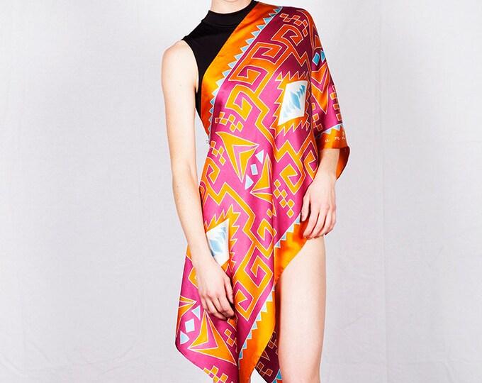 Handpainted Silk Scarf, Tribal scarf, Scarf hand made, Red scarf, Orange scarf, Batik scarf, Unique scarf, Colorful scarf, Art scarf