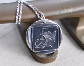 anchor and sail wax seal necklace ... NIL DESPERANDUX - let us not despair - Latin motto inspirational silver antique wax seal jewelry