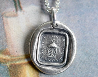 glowing lantern wax seal necklace - brighter hours will come - an inspirational message of hope - silver antique wax seal jewelry