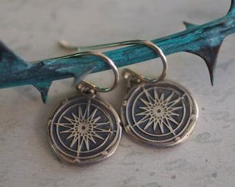 compass dangle earrings - compass rose wax seal earrings ...  guidance, navigation, direction - bronze nautical wax seal jewelry