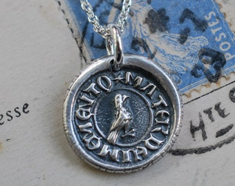 little bird wax seal necklace ... Latin motto - mater die memento - remember me - forget me not - medieval wax seal jewelry