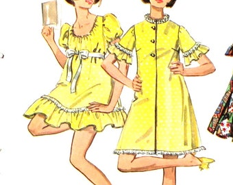 UNCUT 1960's Baby Doll Pajamas or Gown Bust 36 Butterick 5518