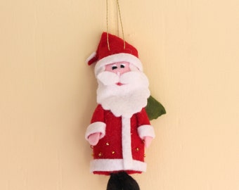 Red Santa is Coming to Town, Felt Hanging Christmas Ornament