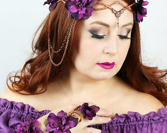 Flower Crown Copper and Purple, Floral Crown, Headpiece, Wedding Headpiece, Wedding Accessory, LOTR, Cosplay, Fairy, Renaissance, Costume
