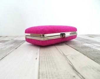 Harris Tweed, Minaudière sac à main, embrayage boîte, boîte d'embrayage sac à main bourse bal, Harris Tweed embrayage soir sac à main, mariage, sac à main rose, rose