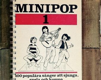 Vintage Sweedish Music Notebook // Minipop Recycled School Book Journal