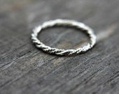 Skinny sterling silver stacking ring - stackable ring - twisted ring - rope band - simple band - minimalist - thumb ring