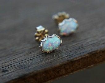 Man made opal earrings - stud earrings - goldfilled or sterling silver - minimalist - dainty - every day earrings - faux opal - lab opal
