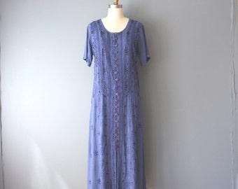 vintage 90s embroidered dress / hippie festival dress / tie back dress / sz 12 / D13