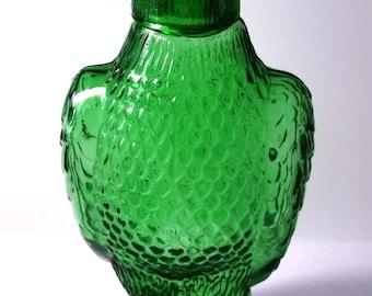 Mid Century Barware- American Eagle Decanter - Removable Shot Glass Head - Emerald Green Glass Figural Bottle - MAN CAVE Decor- US Gift Idea