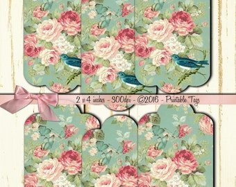 Instant Download - Shabby Chic Tags No. 9 - High quality digital  - Printable Download -  flowers romantic French