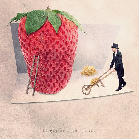 Strawberry print, Strawberry Decor, Kitchen Decor, gifts for gardeners, Food Photography, Kitchen art, kitchen art print, kitchen wall decor